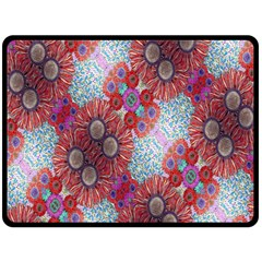 Floral Flower Wallpaper Created From Coloring Book Colorful Background Double Sided Fleece Blanket (Large)