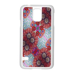 Floral Flower Wallpaper Created From Coloring Book Colorful Background Samsung Galaxy S5 Case (White)