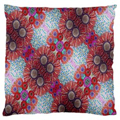 Floral Flower Wallpaper Created From Coloring Book Colorful Background Large Flano Cushion Case (Two Sides)