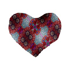 Floral Flower Wallpaper Created From Coloring Book Colorful Background Standard 16  Premium Flano Heart Shape Cushions