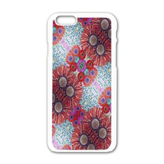 Floral Flower Wallpaper Created From Coloring Book Colorful Background Apple Iphone 6/6s White Enamel Case