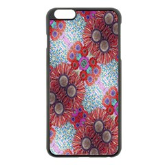 Floral Flower Wallpaper Created From Coloring Book Colorful Background Apple iPhone 6 Plus/6S Plus Black Enamel Case