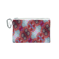 Floral Flower Wallpaper Created From Coloring Book Colorful Background Canvas Cosmetic Bag (S)