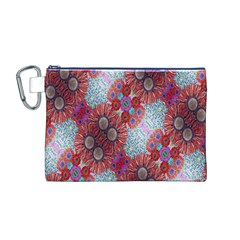 Floral Flower Wallpaper Created From Coloring Book Colorful Background Canvas Cosmetic Bag (M)