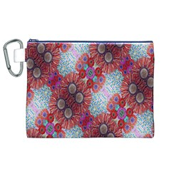 Floral Flower Wallpaper Created From Coloring Book Colorful Background Canvas Cosmetic Bag (xl)