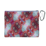 Floral Flower Wallpaper Created From Coloring Book Colorful Background Canvas Cosmetic Bag (XL) Back