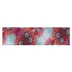 Floral Flower Wallpaper Created From Coloring Book Colorful Background Satin Scarf (oblong)