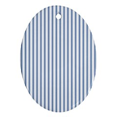 Mattress Ticking Narrow Striped Pattern in Dark Blue and White Ornament (Oval)