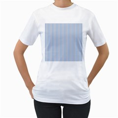 Mattress Ticking Narrow Striped Pattern in Dark Blue and White Women s T-Shirt (White) (Two Sided)