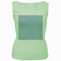 Mattress Ticking Narrow Striped Pattern in Dark Blue and White Women s Green Tank Top