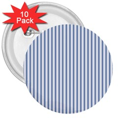 Mattress Ticking Narrow Striped Pattern in Dark Blue and White 3  Buttons (10 pack)