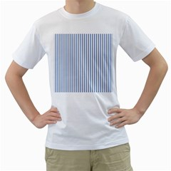 Mattress Ticking Narrow Striped Pattern in Dark Blue and White Men s T-Shirt (White) (Two Sided)