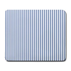 Mattress Ticking Narrow Striped Pattern in Dark Blue and White Large Mousepads