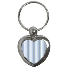Mattress Ticking Narrow Striped Pattern in Dark Blue and White Key Chains (Heart)