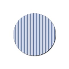 Mattress Ticking Narrow Striped Pattern in Dark Blue and White Rubber Round Coaster (4 pack)
