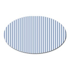 Mattress Ticking Narrow Striped Pattern in Dark Blue and White Oval Magnet