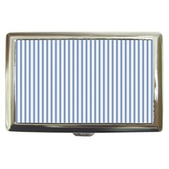 Mattress Ticking Narrow Striped Pattern in Dark Blue and White Cigarette Money Cases