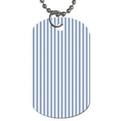 Mattress Ticking Narrow Striped Pattern in Dark Blue and White Dog Tag (Two Sides)