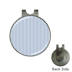 Mattress Ticking Narrow Striped Pattern in Dark Blue and White Hat Clips with Golf Markers