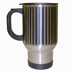 Mattress Ticking Narrow Striped Pattern In Dark Blue And White Travel Mug (silver Gray)