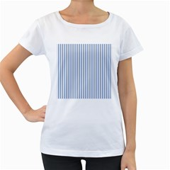 Mattress Ticking Narrow Striped Pattern in Dark Blue and White Women s Loose-Fit T-Shirt (White)