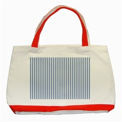 Mattress Ticking Narrow Striped Pattern in Dark Blue and White Classic Tote Bag (Red)