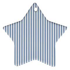 Mattress Ticking Narrow Striped Pattern in Dark Blue and White Star Ornament (Two Sides)