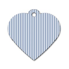 Mattress Ticking Narrow Striped Pattern in Dark Blue and White Dog Tag Heart (Two Sides)