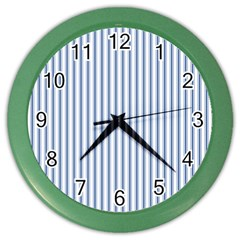 Mattress Ticking Narrow Striped Pattern in Dark Blue and White Color Wall Clocks