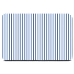 Mattress Ticking Narrow Striped Pattern in Dark Blue and White Large Doormat