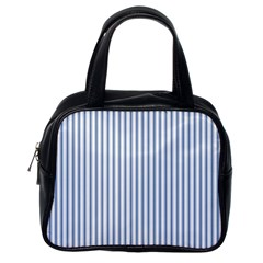 Mattress Ticking Narrow Striped Pattern in Dark Blue and White Classic Handbags (One Side)