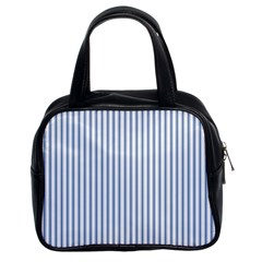 Mattress Ticking Narrow Striped Pattern in Dark Blue and White Classic Handbags (2 Sides)