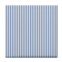 Mattress Ticking Narrow Striped Pattern in Dark Blue and White Face Towel