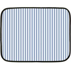 Mattress Ticking Narrow Striped Pattern in Dark Blue and White Double Sided Fleece Blanket (Mini)