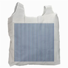Mattress Ticking Narrow Striped Pattern in Dark Blue and White Recycle Bag (One Side)