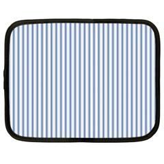 Mattress Ticking Narrow Striped Pattern in Dark Blue and White Netbook Case (XL)
