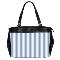 Mattress Ticking Narrow Striped Pattern in Dark Blue and White Office Handbags (2 Sides)