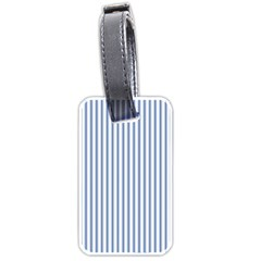 Mattress Ticking Narrow Striped Pattern in Dark Blue and White Luggage Tags (Two Sides)