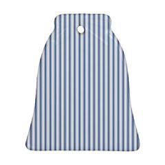 Mattress Ticking Narrow Striped Pattern in Dark Blue and White Bell Ornament (Two Sides)
