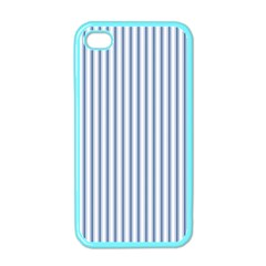 Mattress Ticking Narrow Striped Pattern in Dark Blue and White Apple iPhone 4 Case (Color)