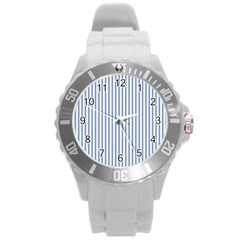 Mattress Ticking Narrow Striped Pattern in Dark Blue and White Round Plastic Sport Watch (L)