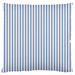 Mattress Ticking Narrow Striped Pattern in Dark Blue and White Large Cushion Case (One Side)