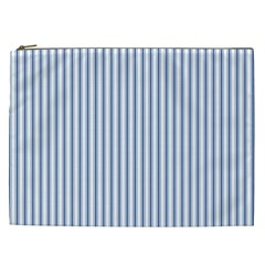 Mattress Ticking Narrow Striped Pattern in Dark Blue and White Cosmetic Bag (XXL)