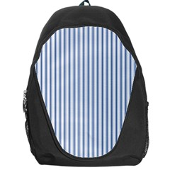 Mattress Ticking Narrow Striped Pattern in Dark Blue and White Backpack Bag