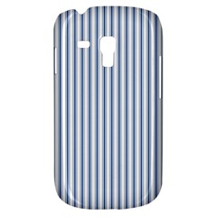 Mattress Ticking Narrow Striped Pattern in Dark Blue and White Galaxy S3 Mini