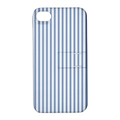 Mattress Ticking Narrow Striped Pattern in Dark Blue and White Apple iPhone 4/4S Hardshell Case with Stand