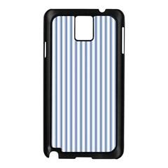 Mattress Ticking Narrow Striped Pattern in Dark Blue and White Samsung Galaxy Note 3 N9005 Case (Black)