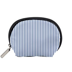 Mattress Ticking Narrow Striped Pattern in Dark Blue and White Accessory Pouches (Small)