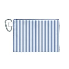 Mattress Ticking Narrow Striped Pattern in Dark Blue and White Canvas Cosmetic Bag (M)
