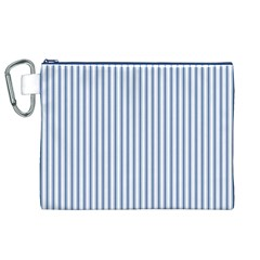 Mattress Ticking Narrow Striped Pattern in Dark Blue and White Canvas Cosmetic Bag (XL)